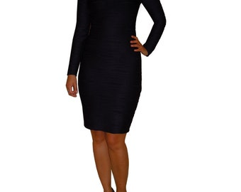Black body conscious little black dress, crew neck long sleeve womens dress, de almeida designs