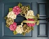 Spring Wreath | Front Door Wreaths | Green Cream and Rose Pink Hydrangeas Wreath | Türkranz | couronne de porte | dør krans