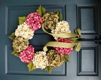 Hydrangea Wreath | Summer Wreath | Front Door Wreaths | Wreaths for Front Door | Housewarming Gift