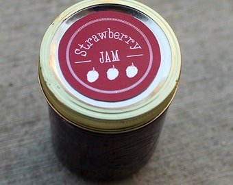 Strawberry canning jar label | Mason jar label for strawberry jam- 2.5 inch diameter