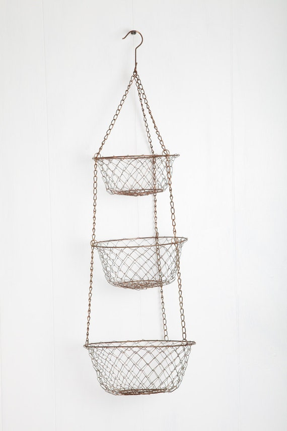 Items Similar To Vintage Wire Mesh 3 Tier Hanging Baskets