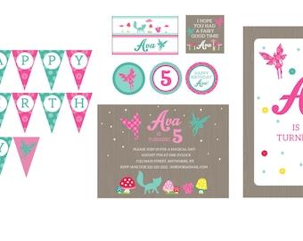 Woodland Fairy Birthday Theme- Woodland Fairy Party Printables- Woodland Fairy Theme- Woodland Fairy Invitation