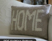 """Pillow KNITTING PATTERN / """"Home"""" / Cushion / Quick Knit / Super Bulky Yarn / PDF instant download / Two Color Intarsia Knitting"""