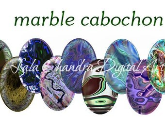 digital Marble Cabochon 20x30 mm ovals Collage Sheet