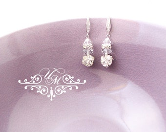 Wedding Jewelry Wedding Earrings Bridal Earrings Bridesmaid Earrings Dangle Earrings Rhinestone Earrings Zircon earwires