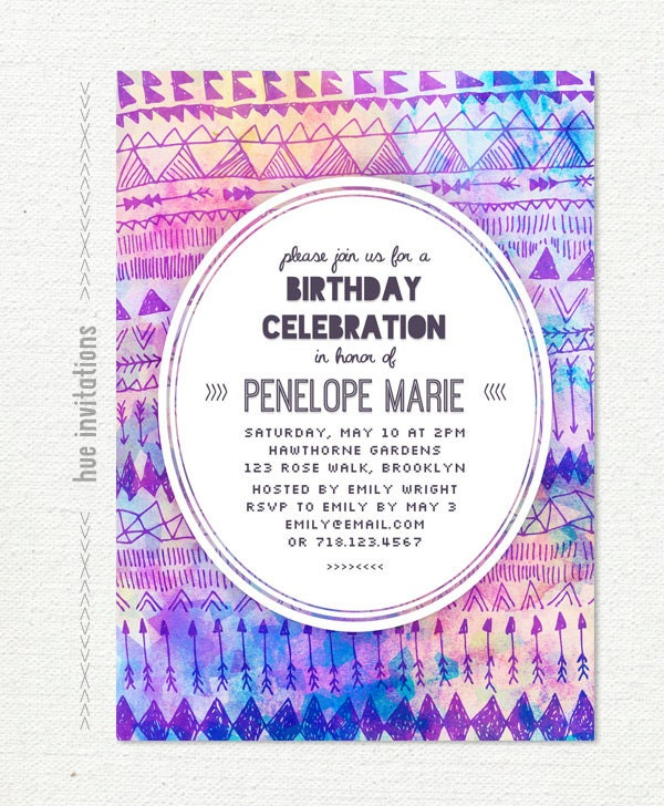 Tribal Birthday Party Invitation Teen Birthday Invitation