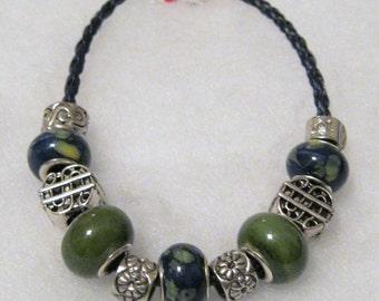 207 - Navy & Olive Beaded Bracelet