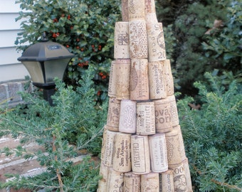 Wine Cork Tree, Christmas, handcrafted, recycled
