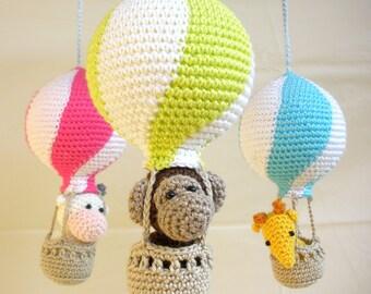 Hot air balloon baby mobile, balloon mobile, crib mobile, neon colored nursery crochet mobile, nursery mobile