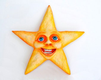 Smiling Star - Paperclay - Handmade / Handpainted / Contemporany / Art / Acrylic Paint / Modern / Gift / Wall Decor / Funny