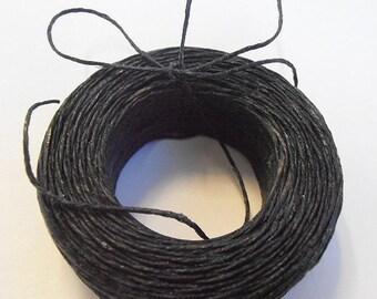 45 yd 3 Ply WAXED Linen - BLACK Bead Cord - Thread  .4mm dia Spool