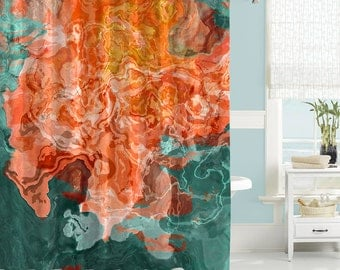 Turquoise And Coral Shower Curtain. Abstract art shower curtain  contemporary bathroom decor mildew resistant waterproof fabric Art Etsy
