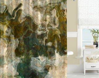 shower curtain abstract art bathroom decor olive khaki and brown shower curtain