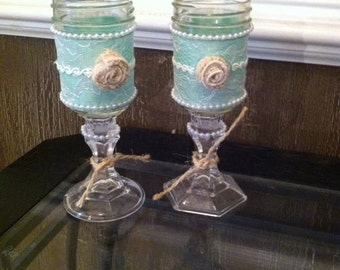 shabby chic glasses or candle holders rustic wine jar glasses - Mason Jar Glasses