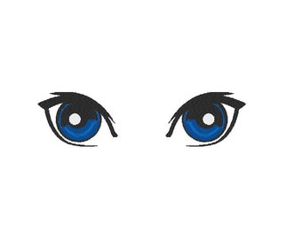 Machine Embroidery Design,  Lovely Eyes, left and right plus both, two sizes