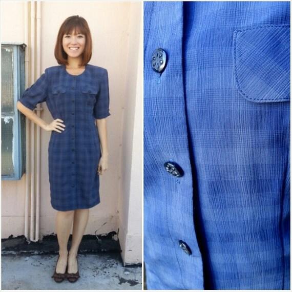Blue Plaid Dress Vintage Dress/ Navy Blue Plaid