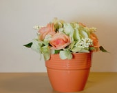 """Orange Roses and Green Hydrangea with White Berries in an Orange Flower Pot - 8"""""""