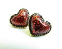 Avon Red Enamel Puffy Heart Earrings