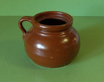 Old Stoneware Bean Pot, Brown Pottery Pot, Baked Beans Pot