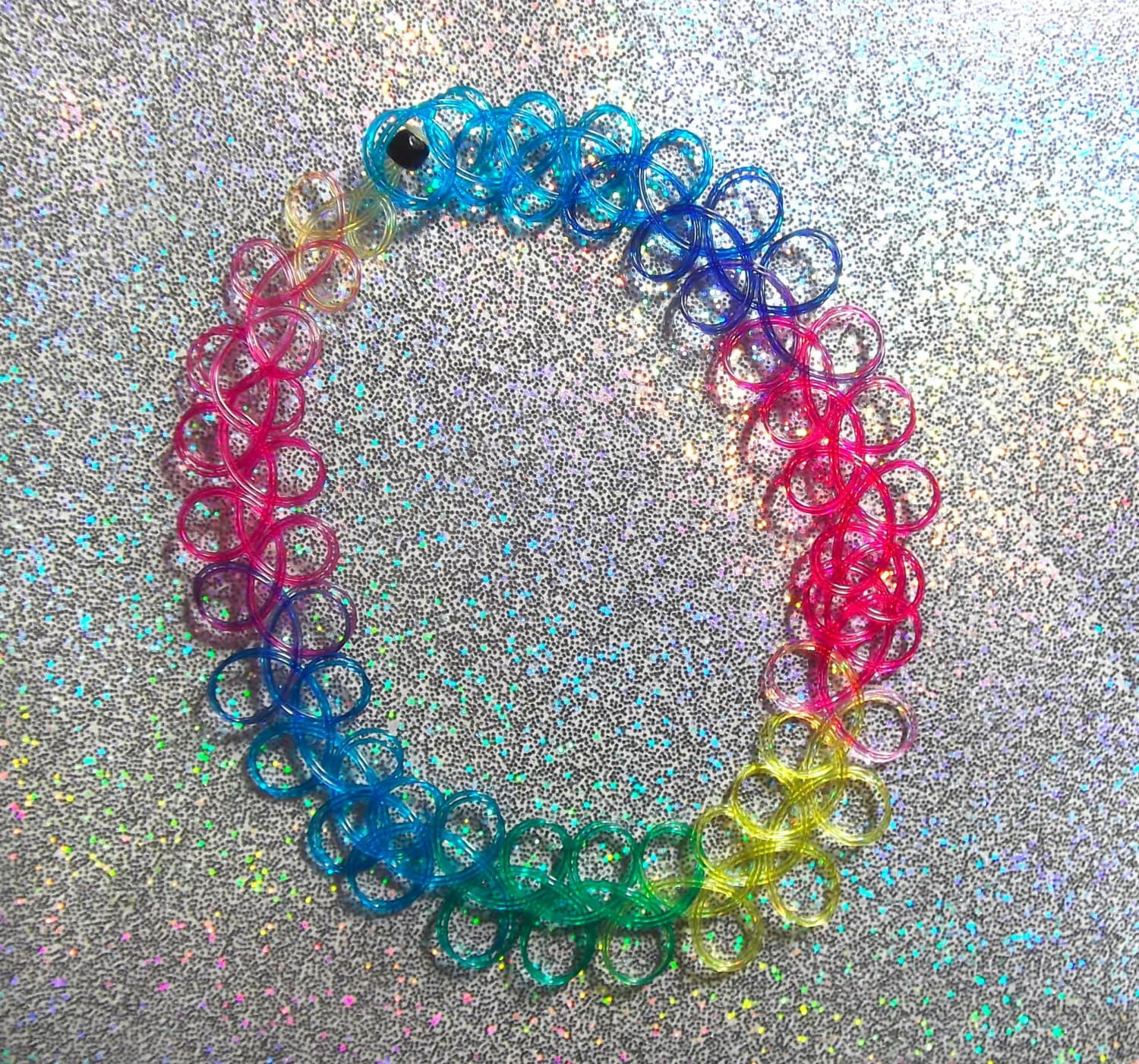 rainbow double string 90s tattoo choker by kawaiikave on etsy