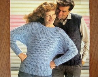 Knitting Pattern for Women's BATWING PULLOVER & Unisex V-Neck VEST by