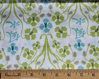 1/2 Yard - Sanctuary, Orchid Feng Shui Seafoam – by Patty Young - Michael Miller - Blue, Green, White - Quilting Cotton Fabric - Yardage