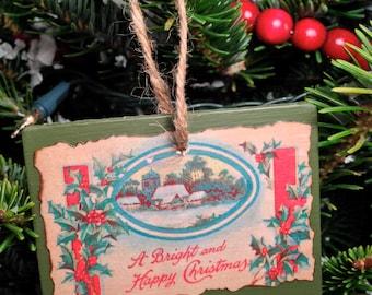 Vintage Christmas Postcard Ornament #022
