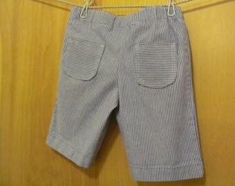 Upcycled Blue & White Striped Shorts, size 5