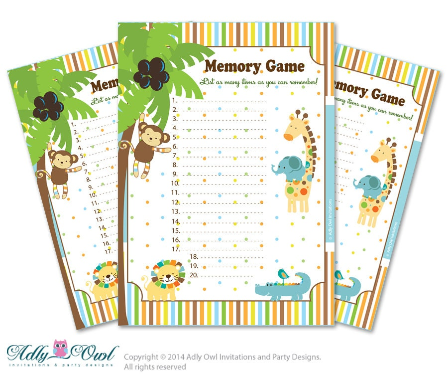 boy jungle memory game for baby shower by adlyowlpartyprints