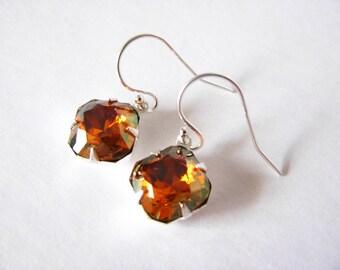 Cappuchino Drop Earrings Eco Friendly Swarovski Dangle Earrings Mocca Color Handmade Jewelry Sterling Silver