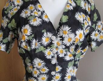 Dress vintage long liberty/flowers sunflowers/Sun T.S 38 black, white, yellow, Antique long dress/kleid