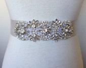 Rhinestone Belt-Light Silver Sash-Light Grey Sash-Bridal Sash-Wedding Dress Sash-Pearl Belt-Ribbon Sash-Floral Crystal Pearl Applique Sash