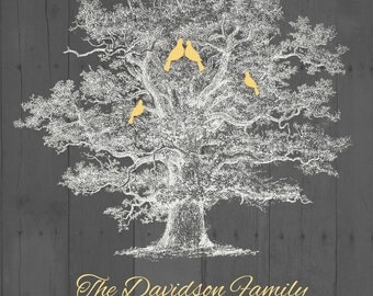 Personalized Rustic Family Tree with Love Birds and babes,  Wedding Family Tree Print, Family Sign Poster 8'5 x 11""