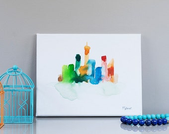 NY wallart rainbow colors NYC Art Newyork city Skyline watercolor Abstract art Cityscape Original Watercolor City Painting Canvas home decor