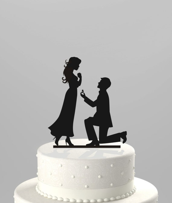 silhouette cake topper wedding cake topper silhouette groom proposing to 7369