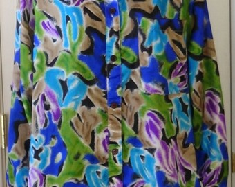 80s, 90s, oversized blouse, shirt, floral abstract, Gianna