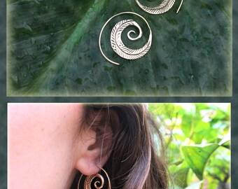 Little Leaf Spiral Earrings, made of brass