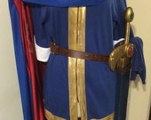 SUPERSMASHBROTHERS MARTH COSTUME! Cape, Pauldrons, Tunic, Crown, Gloves, Sword, Sheath Swordbelt. Used But Good Condition!. Cosplay Costume!
