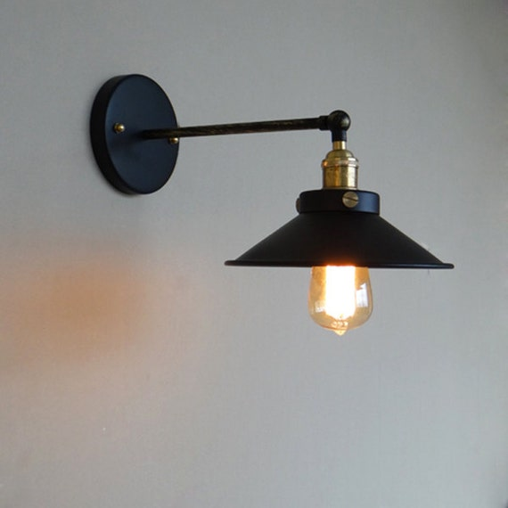 Industrial Style Steel Wall Lamp steel by LightwithShade on Etsy