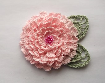 pink crochet flower brooch, pink crochet brooch, flower brooch, handmade, crochet, pin accessory, corsage, wedding, mother of the bride