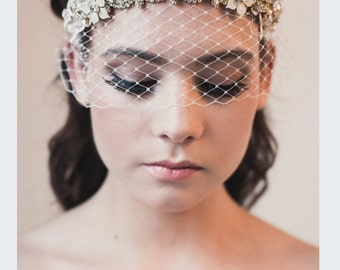 gold crystal bandeau veiled headdress with lace pearls and flowers wedding tiara bridal