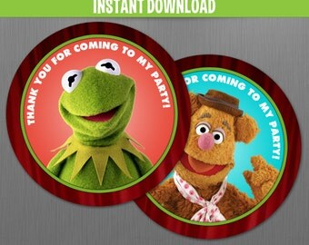 Muppets Birthday Favor Tags - Instant Download file. Print with Adobe Reader