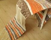 Swedish Vintage Rag rug Woven rag rug Striped orange brown gray white rug Woven Scandinavian handmade rug