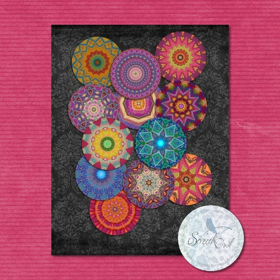 mandalas coasters craft supplies bottle cap collage sheet