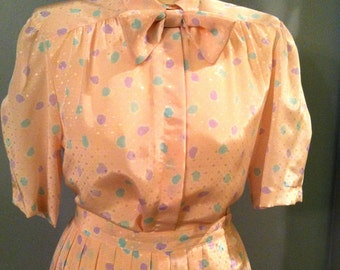 June Cleaver vintage 1950s style dress. 2-pc w removable bow. Mid-century retro.Size M. FREE US Shipping!