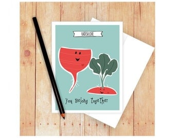 Funny Love Card, Funny Wedding Card,  Funny  Anniversary Card, Funny Engagement Card, Radish Art, Food Pun, Gift for Gardener, Vegetable Art