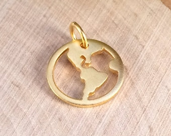 Globe Charm, Globe Pendant, World Charm, World Pendant, Round Globe Cut Out Charm, Gold Charm, Globe Trotter Charm, PG0136