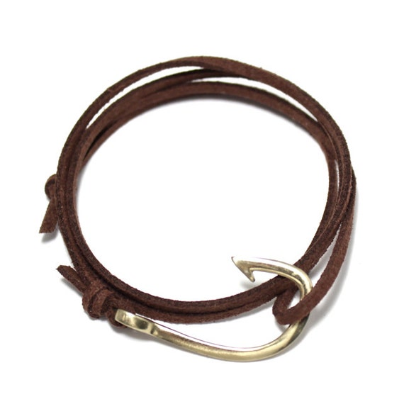 Brown suede fish hook bracelet leather by portuniontrading for Mens fishing bracelet