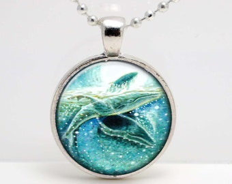 Humpback Whales Swimming Art  Glass Pendant or Key Chain- 30 mm round- Chain Included- Made to Order