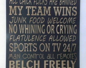 """Man Cave Rules Sign 10"""" x 20"""""""